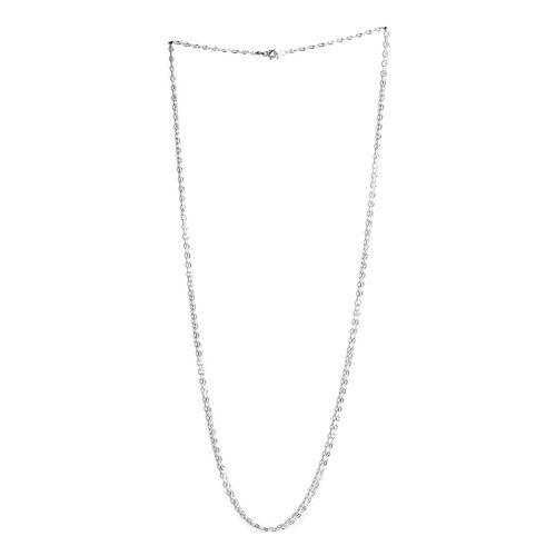 JCK Vegas Collection Sterling Silver Diamond Cut Rolo Chain (Size 30)