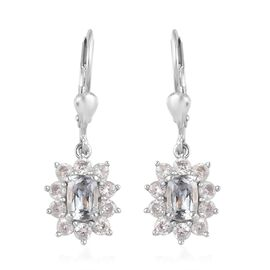 Aquamarine and Natural Cambodian Zircon Lever Back Earrings in Platinum Overlay Sterling Silver 1.90