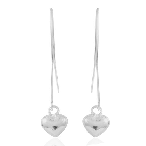 Sterling Silver Heart Hook Earrings, Silver wt. 3.77 Gms.