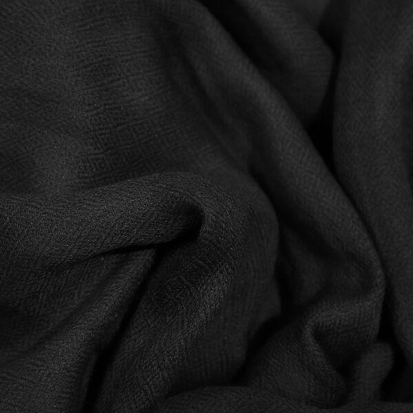 100% Cashmere Wool Black Colour Scarf (Size 190x70 Cm)