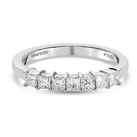 RHAPSODY 950 Platinum IGI CERTIFIED Diamond (Sqr) (E-F/ VS) Ring 0.50 Ct.