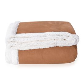 Sherpa Copper Faux Suede Patchwork Blanket ( 200x150 Cm)