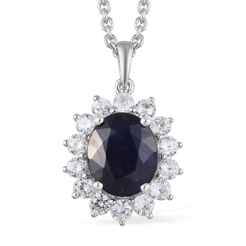Masoala Sapphire and Natural Cambodian Zircon Halo Pendant with Chain in Platinum Overlay Sterling S