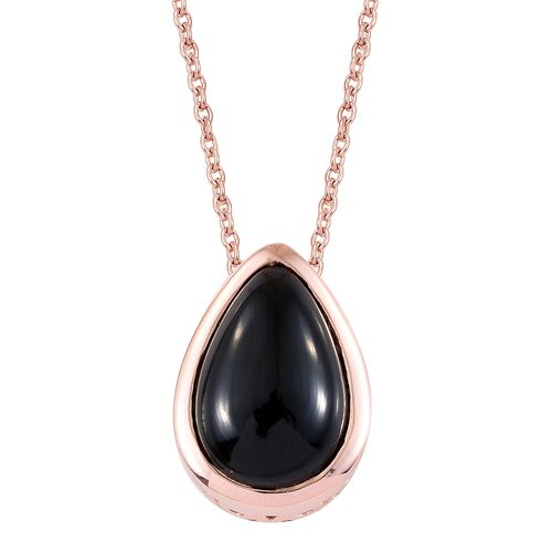 Boi Ploi Black Spinel (Pear) Solitaire Pendant With Chain (Size 20)  in Rose Gold Overlay Sterling S