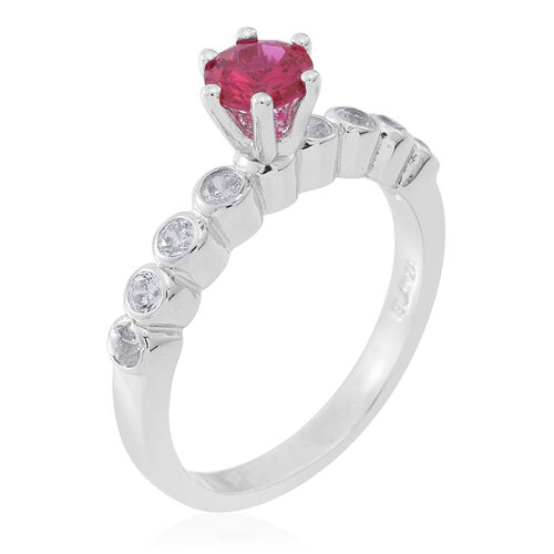 ELANZA AAA Simulated Ruby (Rnd), Simulated White Diamond Ring in Rhodium Plated Sterling Silver, Silver wt 3.60 Gms.