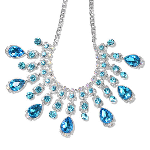 Simulated Aquamarine, Blue Austrian Crystal and Simulated Mystic White Crystal Necklace (Size 23 wit