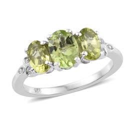 Chinese Peridot (1.84 Ct) Platinum Overlay Sterling Silver Ring  1.750  Ct.