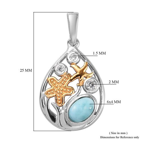 Larimar and Natural Cambodian Zircon Starfish Pendant in Platinum and Yellow Gold Overlay Sterling Silver 0.64 Ct.