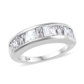 J Francis Platinum Overlay Sterling Silver (Sqr and Bgt) Band Ring  Made with Swarovski Zirconia