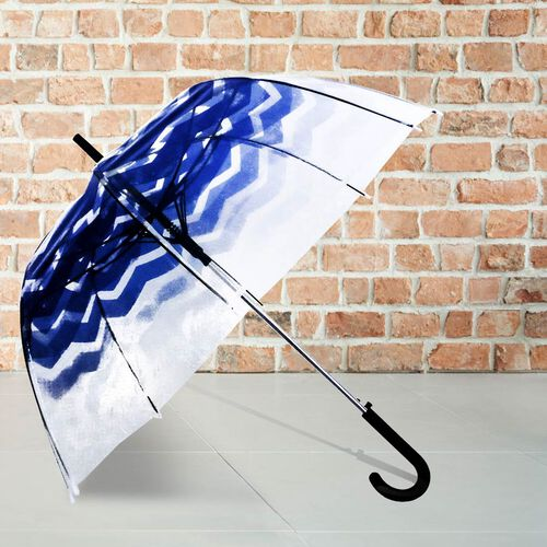 Blooms of London - Chevron Pattern Transparent and Blue Umbrella