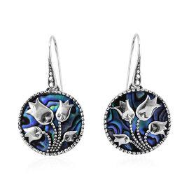 Bali Legacy Collection Paua Shell (Rnd) Tulip Flower Hook Earrings in Sterling Silver, Silver wt 6.5 Gms.