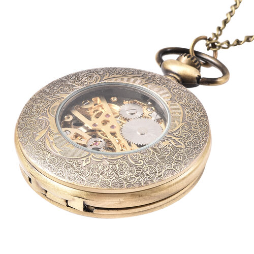 GENOA Automatic Mechanical Hollow-Out Flowers and Dots Pattern Pocket Watch with Chain in Antique Bronze Tone