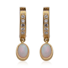 Ethiopian Welo Opal and Natural Cambodian Zircon Earrings (with Clasp) in Yellow Gold Overlay Sterli