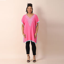 TAMSY 100% Viscose Kaftan with Emboridery (Size 75x85 Cm) - Pink Shell with Light Blue Emboridery