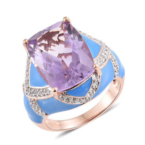 Rose De France Amethyst (Cush 12.50 Ct), Natural Cambodian Zircon Enameled Ring in Rose Gold Overlay Sterling Silver 13.250 Ct. Silver wt 10.32 Gms.