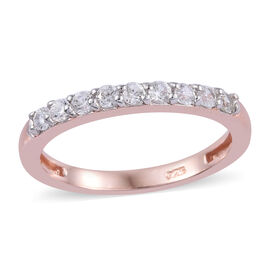 Natural Cambodian Zircon (Rnd) Half Eternity Band Ring in Rose Gold Overlay Sterling Silver 0.500 Ct
