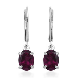 MP Rhodolite Garnet Lever Back Earrings in Rhodium Overlay Sterling Silver 2.85 Ct.