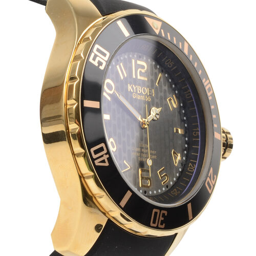 KYBOE Japanese Movement 100M Water Resistant Gold Shade LED Watch in Stainless Steel with Rotating Bezel and Black Strap - 55MM