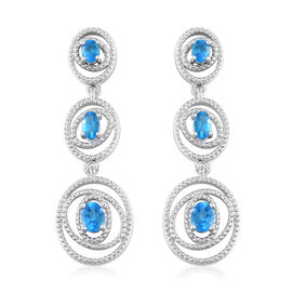 Malgache Neon Apatite (Ovl) Earrings (with Push Back) in Platinum Overlay Sterling Silver 1.30 Ct, S
