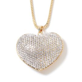 Designer Inspired- Austrian Crystal Heart Necklace (Size 29 with 2 inch Extender) in Yellow Gold Pla