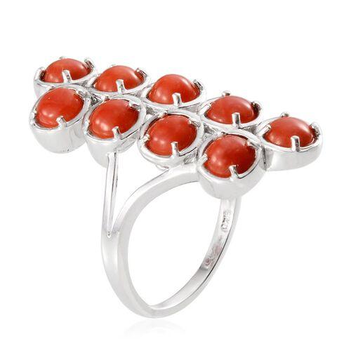 Natural Mediterranean Coral (Rnd) Ring in Platinum Overlay Sterling Silver