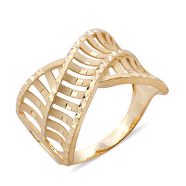 Surabaya Gold Collection - 9K Yellow Gold Criss Cross Ring, Gold wt 3.31 Gms.