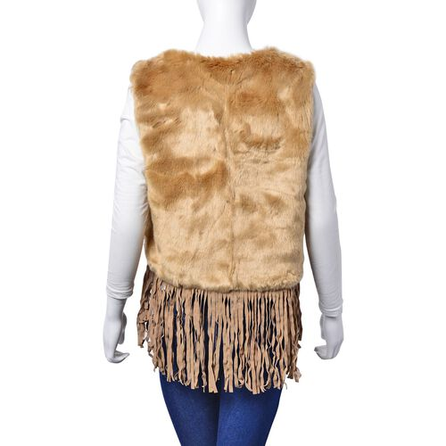 Coffee Colour Faux Fur Vest with Tassels (Size 50x45 Cm)