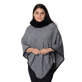 One Time Close Out Deal - Pied De Poule Pattern Winter Poncho with Faux Fur Collar (Size 83x97 Cm) -