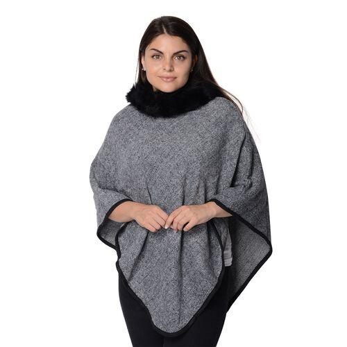 One Time Close Out Deal - Pied De Poule Pattern Winter Poncho with Faux Fur Collar (Size 83x97 Cm) -