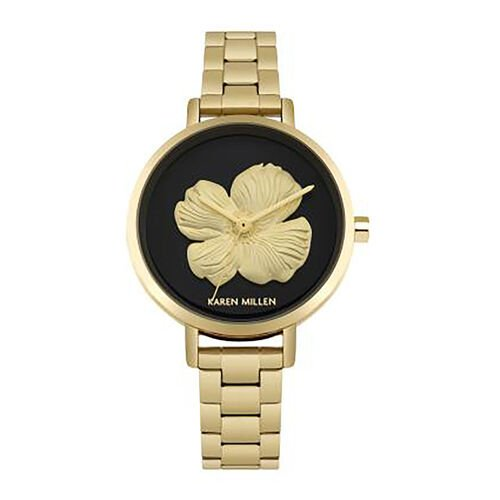 Karen Millen Bracelet Watch with 3D Gold Tone Flower on Black Dial
