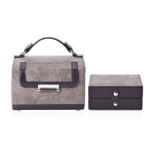 3-Layer Snake Skin Pattern Jewellery Box with a Small Travelling Case, Inside Mirror, Two Pulled-out Drawers and Velvet Lining (Size 21.5x16.5x14.5 Cm) - Dark Brown