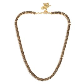 Brazilian Smoky Quartz (Oct), Rare Swiss Marcasite Elephant Charm Necklace (Size 18) in 14K Gold Ove