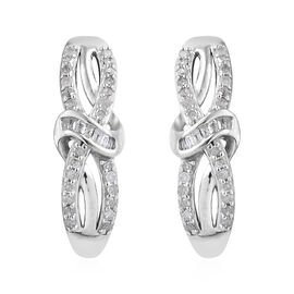 0.33 Carat Diamond Infinity Knot Earrings in Platinum Plated Sterling Silver