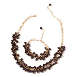 Simulated Chocolate Pearl Necklace (Size 18) and Bracelet (Size 7.50) in Yellow Gold Tone