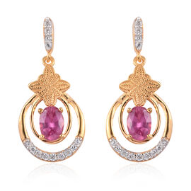 African Ruby and Natural Cambodian Zircon Dangle Earrings (with Push Back) 14K Gold Overlay Sterling