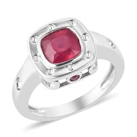 RACHEL GALLEY Majestic Collection African Ruby (Cush), Burmese Ruby Ring in Rhodium Overlay Sterling