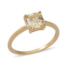 ELANZA Swiss Star Simulated Canary Diamond Solitaire Ring in Yellow Gold Overlay Sterling Silver