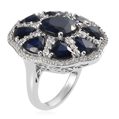 AAA Kanchanaburi Blue Sapphire (Rnd and Trl), Natural Cambodian Zircon Ring in Platinum Overlay Sterling Silver 11.53 Ct, Silver wt 8.20 Gms