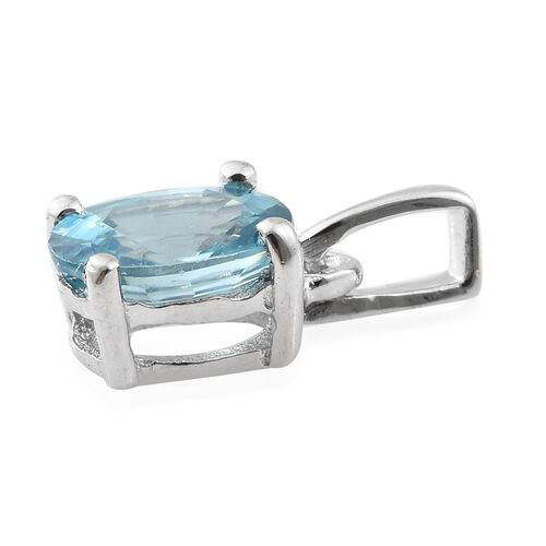 Blue Zircon Solitaire Pendant in Platinum Plated Silver  1.25 Ct