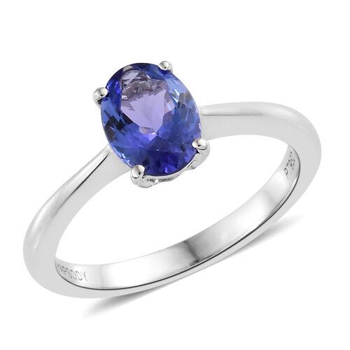 RHAPSODY 950 Platinum AAAA Tanzanite (Ovl) Solitaire Ring 1.500 Ct.