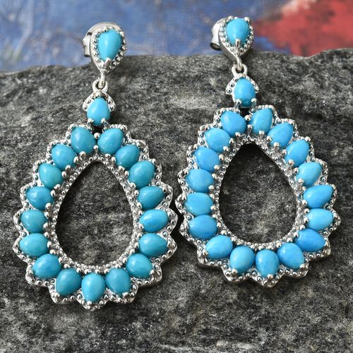 Arizona Sleeping Beauty Turquoise (Pear) Drop Earrings (with Push Back) in Platinum Overlay Sterling Silver 6.250 Ct. Silver wt 6.14 Gms.