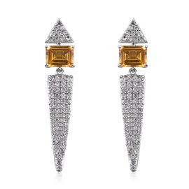 5.67 Ct Heliodor and Cambodian Zircon Drop Earrings in Sterling Silver 6.16 Grams