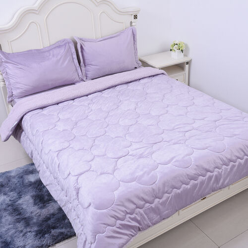 4 Piece Set - Serenity Night Lavender Colour Comforter (220x225cm), Fitted Sheet (150x200+30cm) and Pillow Covers (2 Pcs - 50x70+5cm) - KING