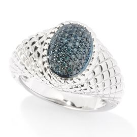 Blue Diamond (Rnd) Ring in Rhodium and Blue Overlay Sterling Silver 0.200 Ct.