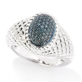 Blue Diamond (Rnd) Ring in Rhodium Overlay Sterling Silver 0.200  Ct.