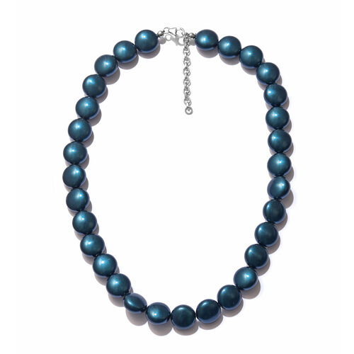 J Francis Pearl From Swarovski Beaded Necklace in Sterling Silver 18 inch with 2 Inch extender