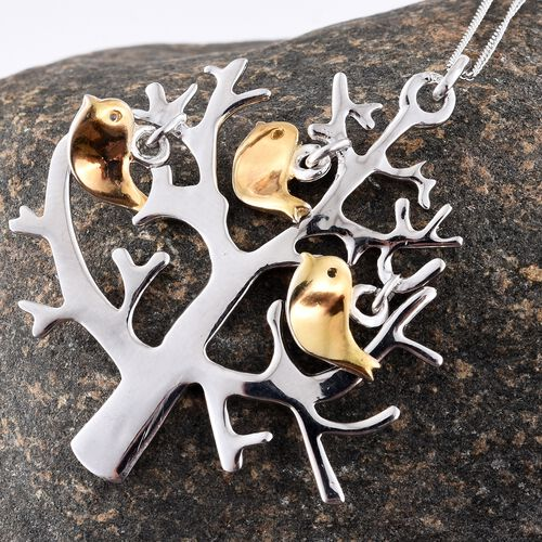 Platinum and Yellow Gold Overlay Sterling Silver Tree and Birds Pendant With Chain, Silver wt 8.18 Gms.