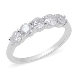 NY Close Out Deal- 14K White Gold Diamond (Rnd) (I2-I3/G-H) Five Stone Ring 1.00 Ct.