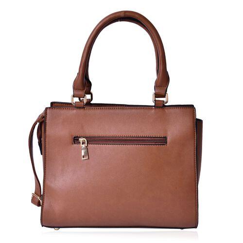 Set of 2 - Chocolate Colour Large Handbag with Adjustable Shoulder Strap and Small Handbag (Size 33.5x29.5x12.5 Cm, 19.5x10 Cm)
