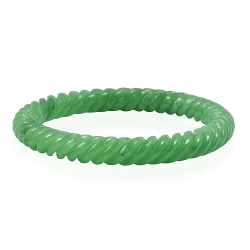 Limited Available Hand Carved Green Jade Bangle 235 Ct Size 7.5 Inch
